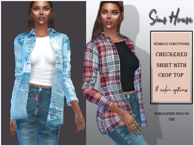 Unbuttoned checkered shirt with crop top by Sims House