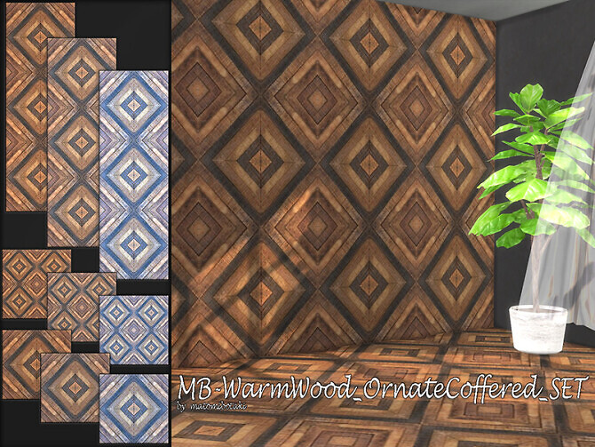 Sims 4 MB Warm Wood Ornate Coffered SET by matomibotaki at TSR