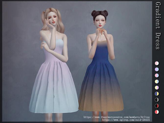 Sims 4 Gradient dress by Arltos at TSR
