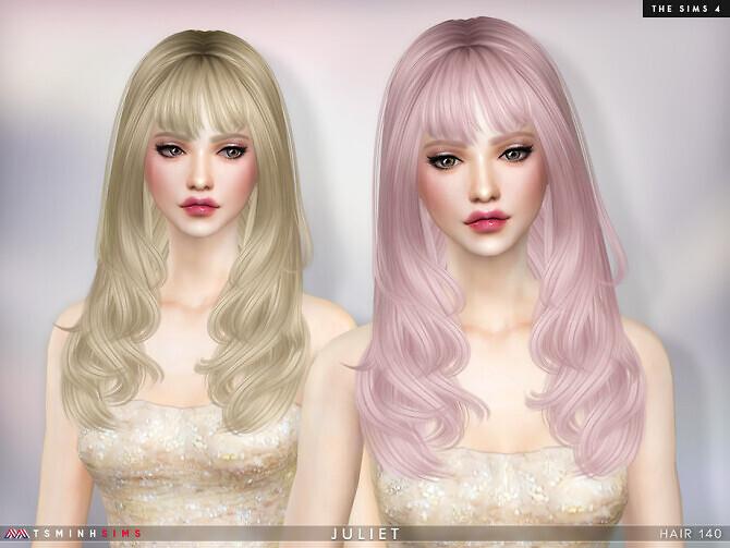 Sims 4 Juliet Hair 140 by TsminhSims at TSR