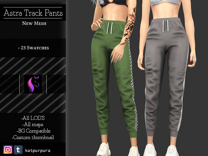 Sims 4 Astra Track pants by KaTPurpura at TSR