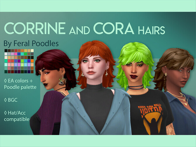 Sims 4 Cora Hair by feralpoodles at TSR