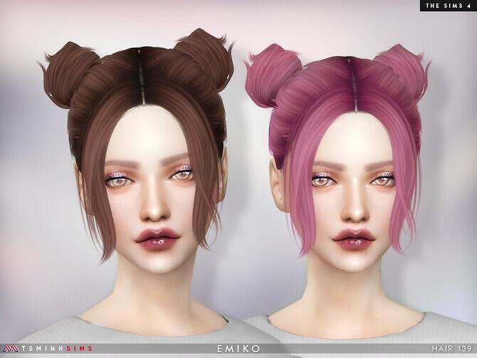 Sims 4 Emiko Hair 139 by TsminhSims at TSR