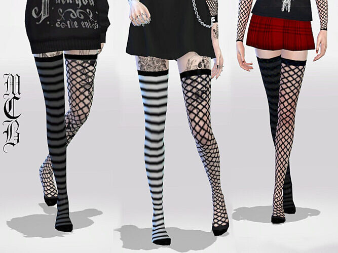 Long Over Knee Stripe And Fishnet Socks By Maruchanbe