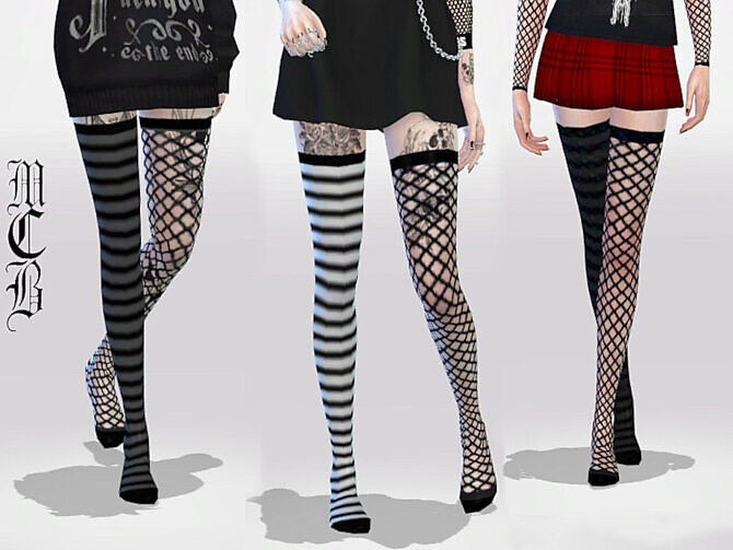 Sims 4 Long Over Knee Stripe and Fishnet Socks by MaruChanBe at TSR