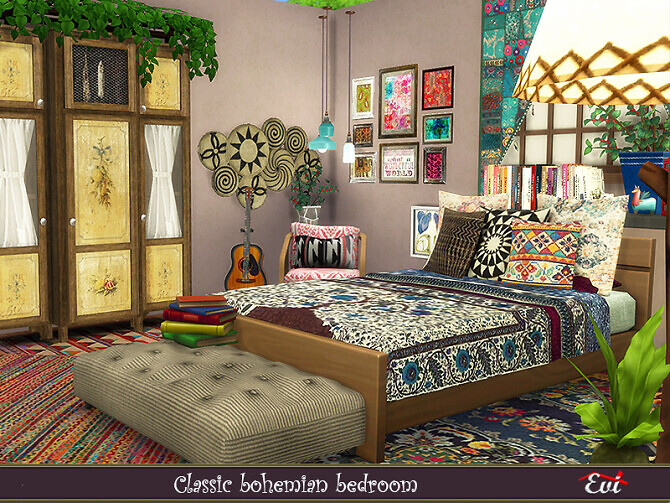 Sims 4 Classic Bohemian Bedroom by evi at TSR