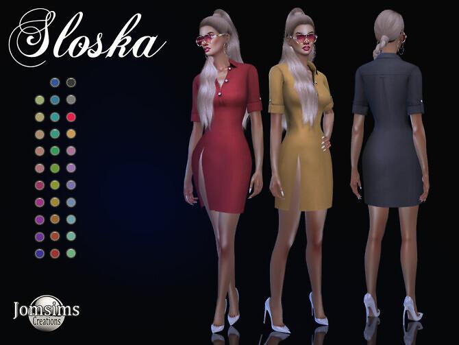 Sims 4 Sloska dress by jomsims at TSR