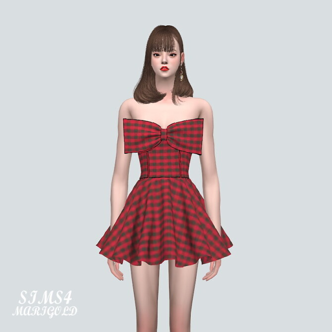 Sims 4 Big Ribbon Cute Mini Dress at Marigold