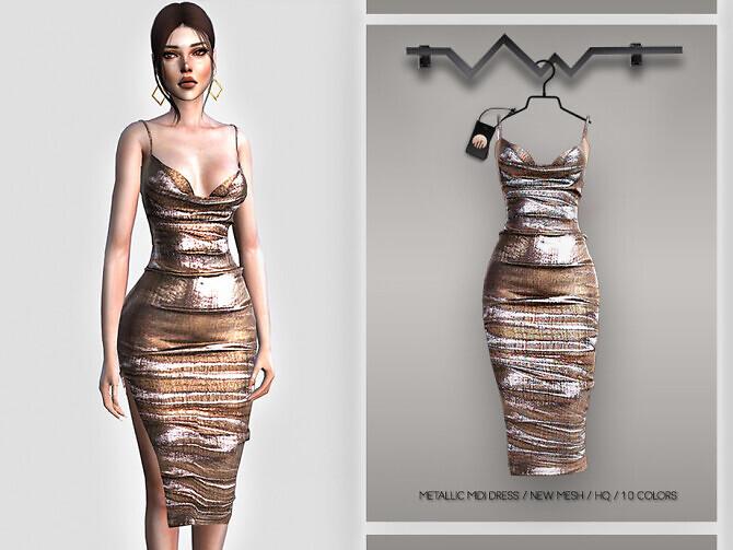 Metallic Midi Dress BD396 by busra-tr