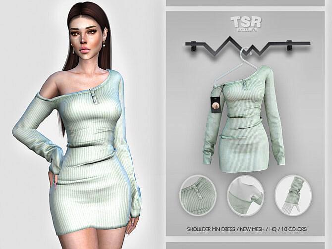 Sims 4 Shoulder Mini Dress BD410 by busra tr at TSR