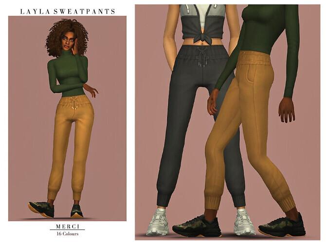 Sims 4 Layla Sweatpants by Merci at TSR