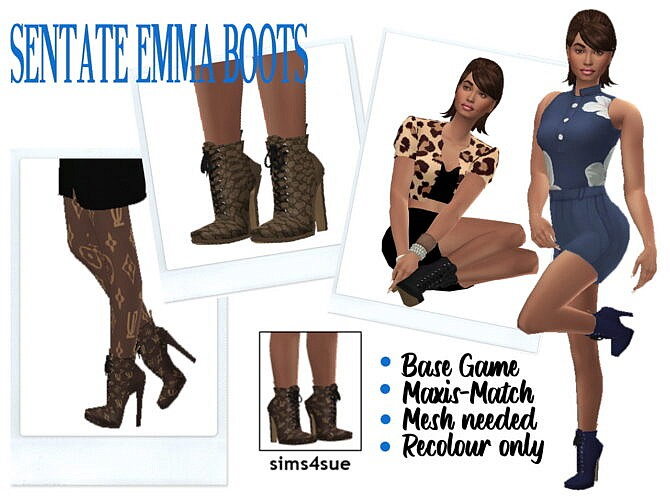Sims 4 SENTATE'S EMMA BOOTS at Sims4Sue