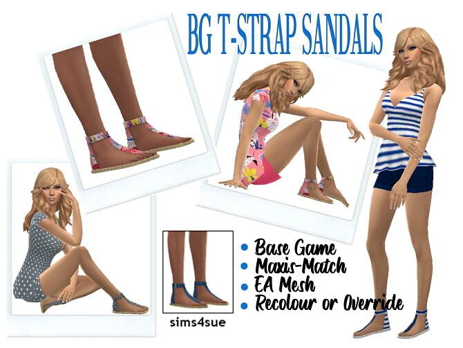 Sims 4 BG T STRAP SANDALS at Sims4Sue