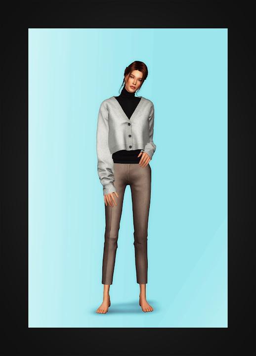 Sims 4 Cropped Cardigan & Turtleneck at Gorilla