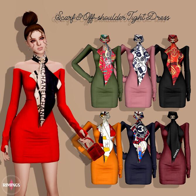 Scarf Off-shoulder Tight Dress