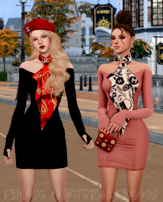 Sims 4 Scarf & Off shoulder Tight Dress at RIMINGs