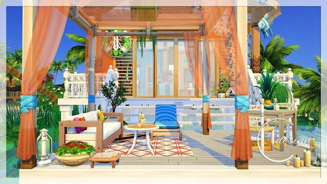 Sims 4 Tiny Beach Bungalow at Cross Design
