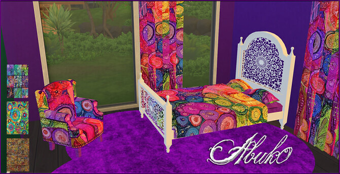 Sims 4 Boho Style: bed, armchair & window blinds at Abuk0 Sims4