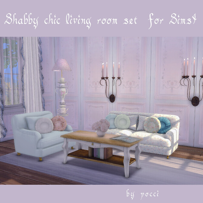 Sims 4 Shabby chic living room set by pocci at Garden Breeze Sims 4