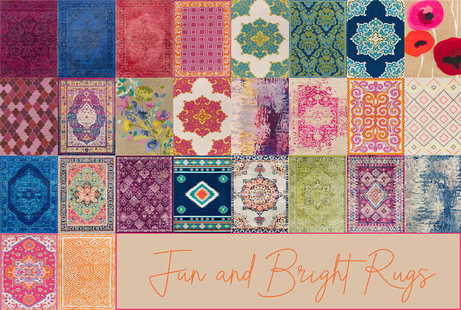 Sims 4 Fun and Bright Rugs at Sooky