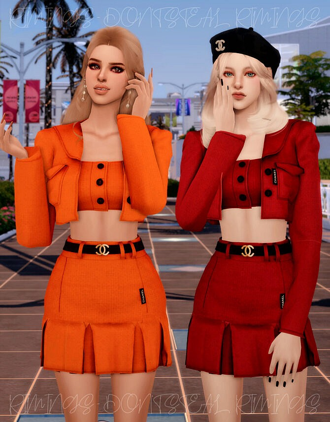 Sims 4 Tweed Twopiece at RIMINGs