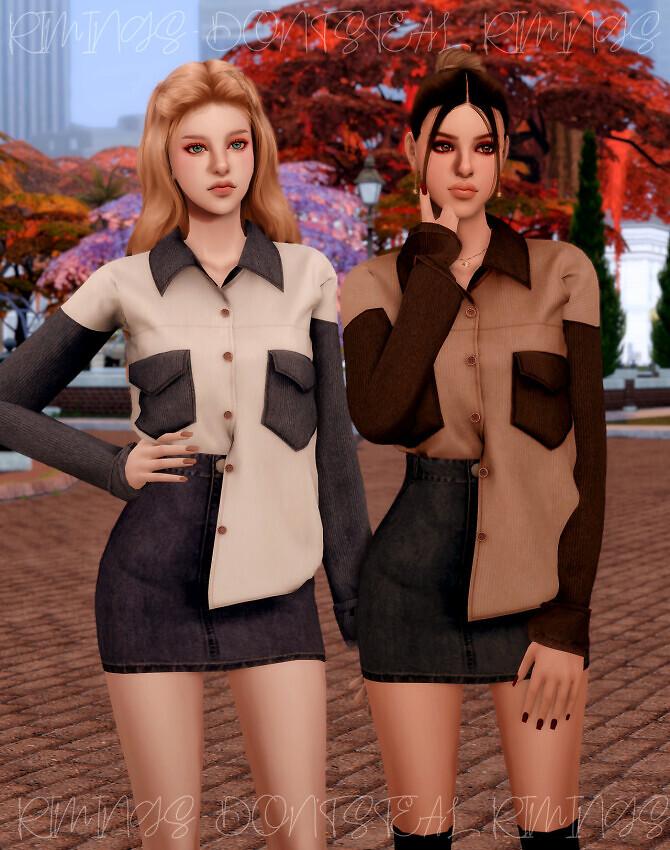 Corduroy Pocket Shirt & Denim Skirt at RIMINGs image 3002 670x850 Sims 4 Updates