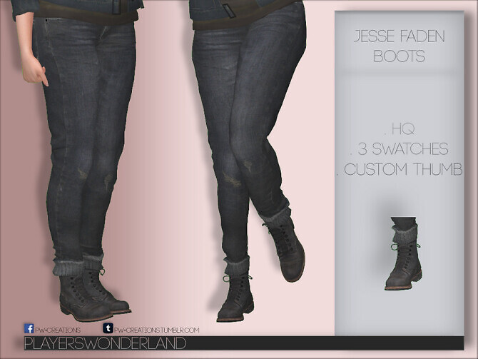 Sims 4 Jesse Faden Boots by PlayersWonderland at TSR