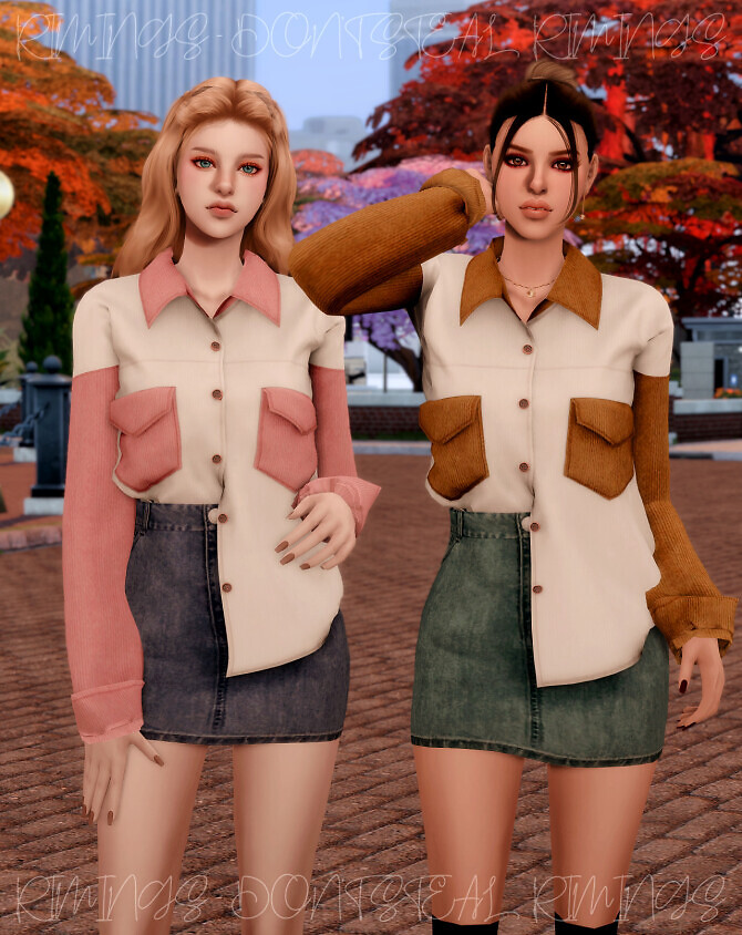 Sims 4 Corduroy Pocket Shirt & Denim Skirt at RIMINGs