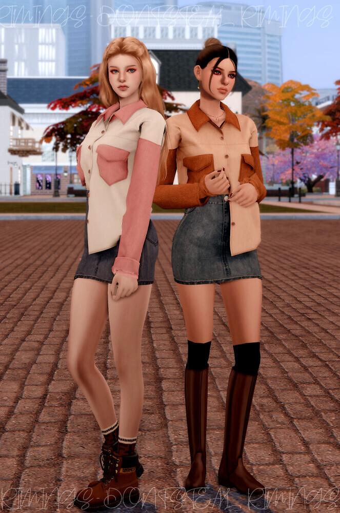 Corduroy Pocket Shirt & Denim Skirt at RIMINGs image 3022 663x1000 Sims 4 Updates