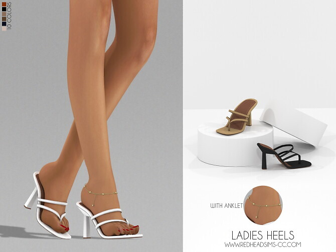 Sims 4 LADIES HEELS WITH ANKLET at REDHEADSIMS