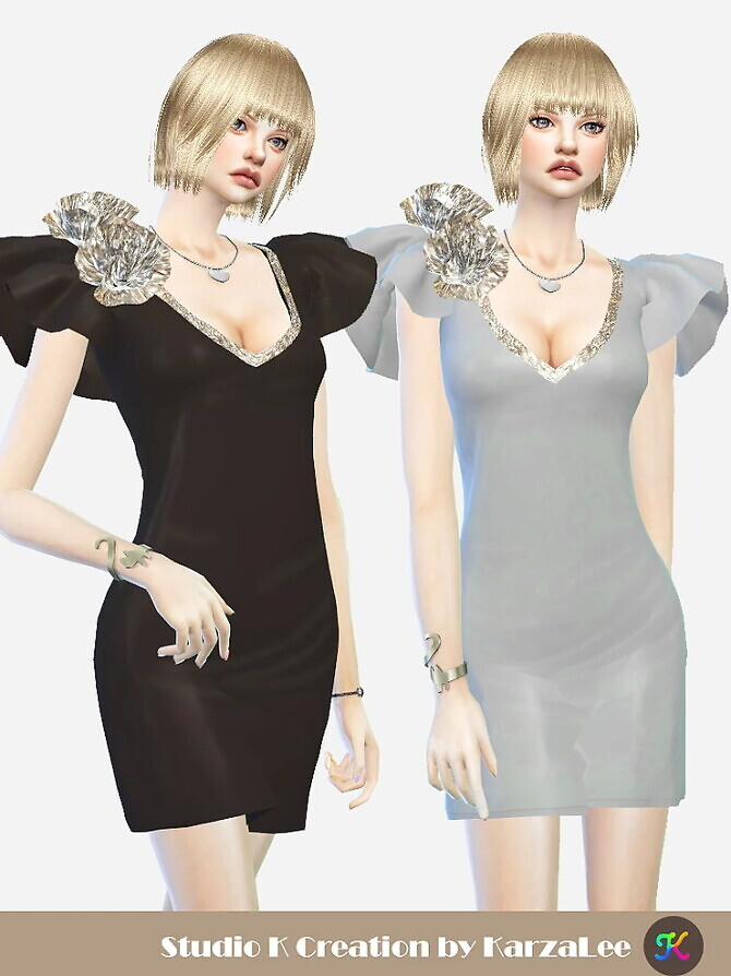 Sims 4 V neck Short Dress at Studio K Creation