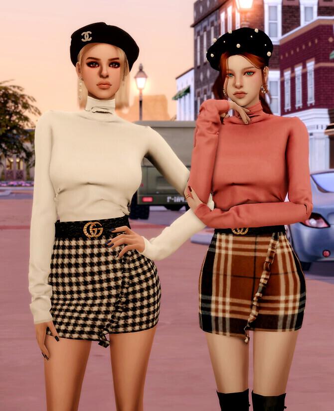 Sims 4 Cotton Turtleneck & Belt & Mini Skirt at RIMINGs