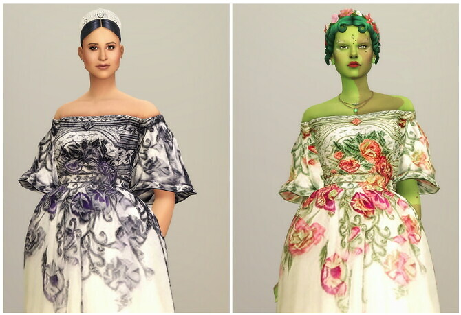 Sims 4 Off The Shoulder Embroidered Dress at Rusty Nail