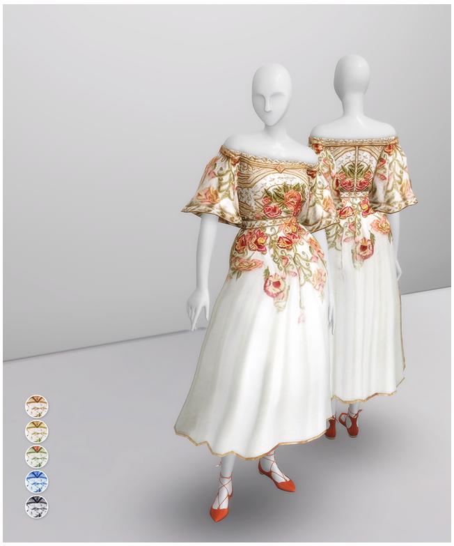Off The Shoulder Embroidered Dress Shorter Edit