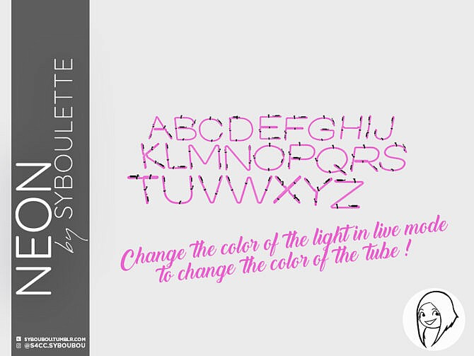 Sims 4 Patreon Early Release Neon Alphabet set by Syboubou at TSR