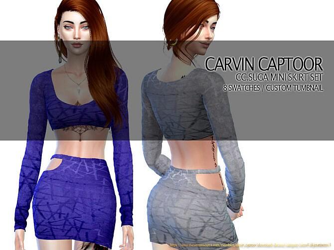 Sims 4 Suga Mini Skirt Set by carvin captoor at TSR