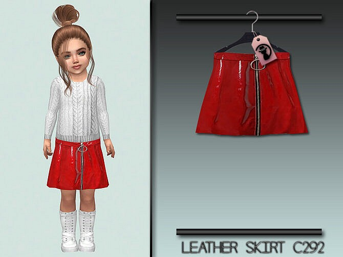 Sims 4 Leather Skirt C292 by turksimmer at TSR