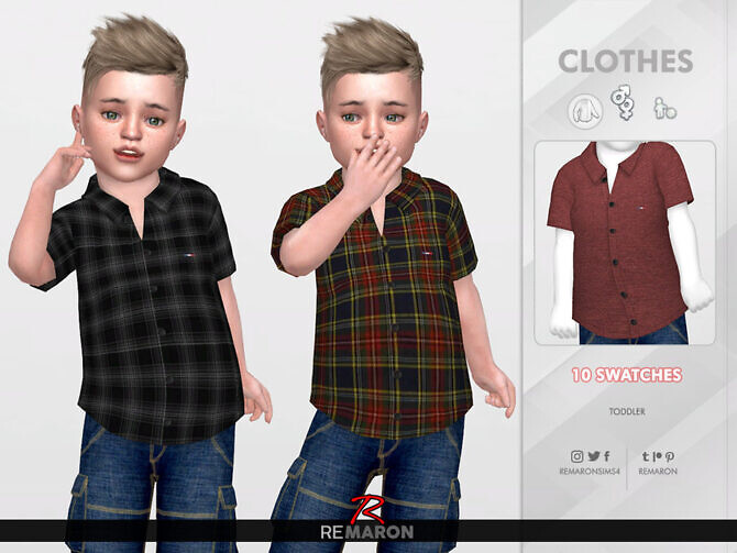 Sims 4 Formal Shirt for Toddler 01 by remaron at TSR
