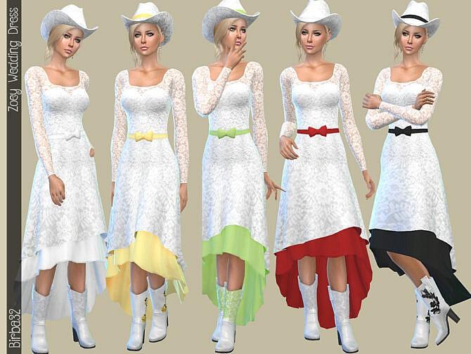 Sims 4 Zoey Wedding Dress by Birba32 at TSR