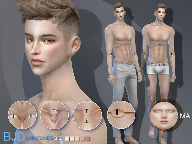 Sims 4 BJD3.0 Doll skintones A for male by S Club WMLL at TSR
