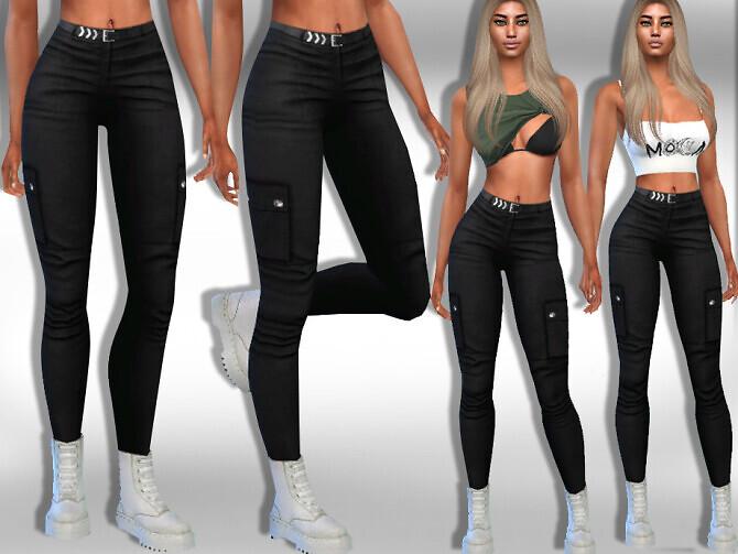 Sims 4 Black Cargo Pants F by Saliwa at TSR