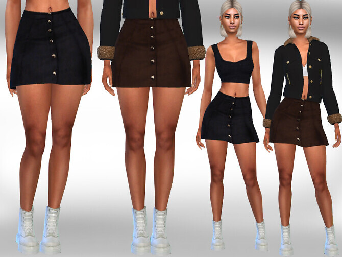 Suet Button Mini Skirts by Saliwa