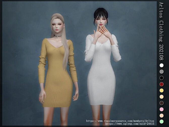 Sims 4 Long sleeve dress 202108 by Arltos at TSR