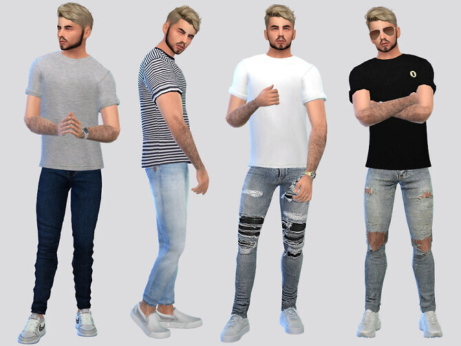 Sims 4 Semi Rolled Basic Tees by McLayneSims at TSR