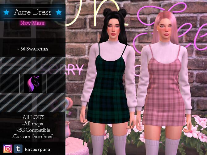 Sims 4 Aure Dress by KaTPurpura at TSR