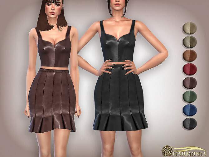 Sims 4 Sleeveless Vegan Leather Crop Top by Harmonia at TSR