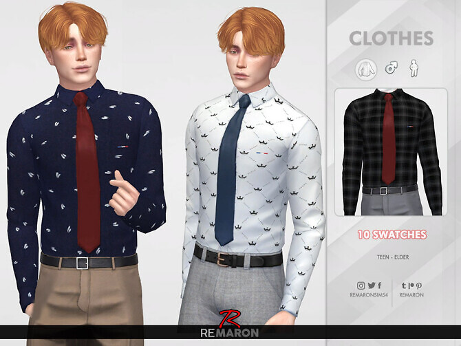 Sims 4 Formal Shirt for Men 02 by remaron at TSR
