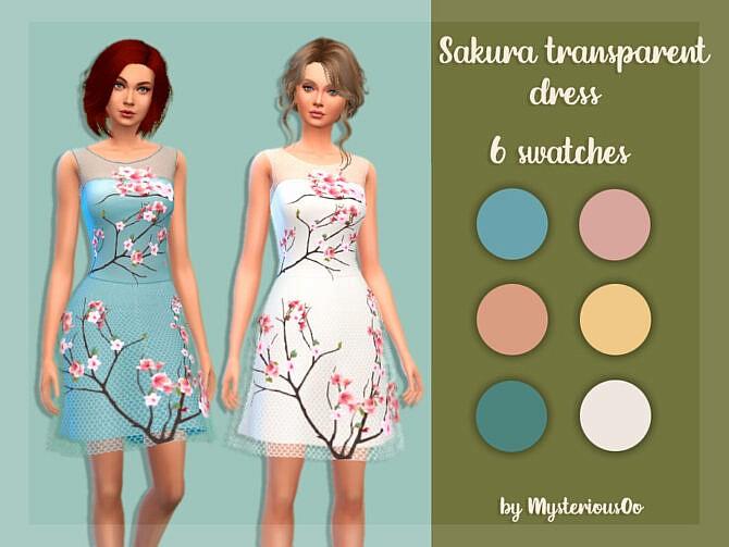 Sims 4 Sakura transparent dress by MysteriousOo at TSR
