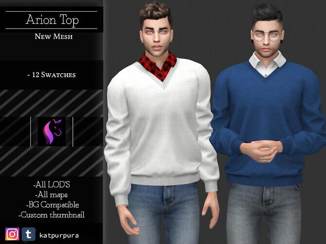 Sims 4 Arion Top by KaTPurpura at TSR