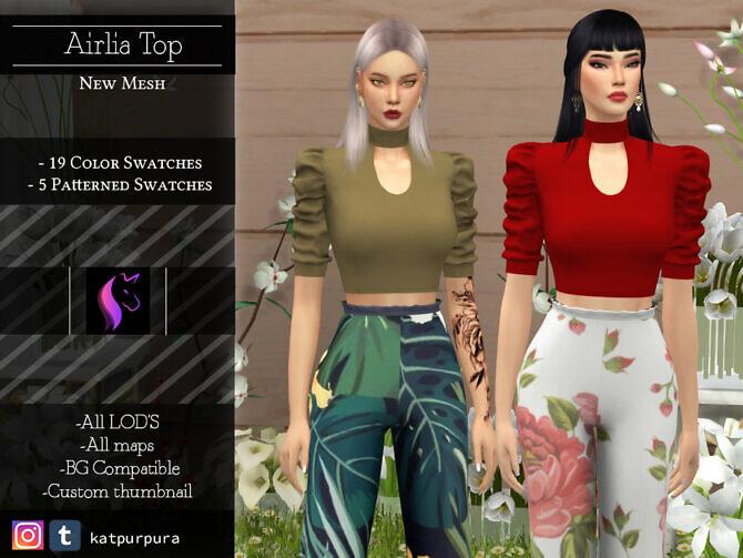 Sims 4 Airlia Top by KaTPurpura at TSR